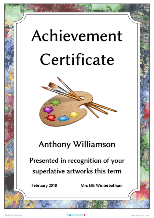 Sen Teacher Quick Certificates Printable Award Certificate