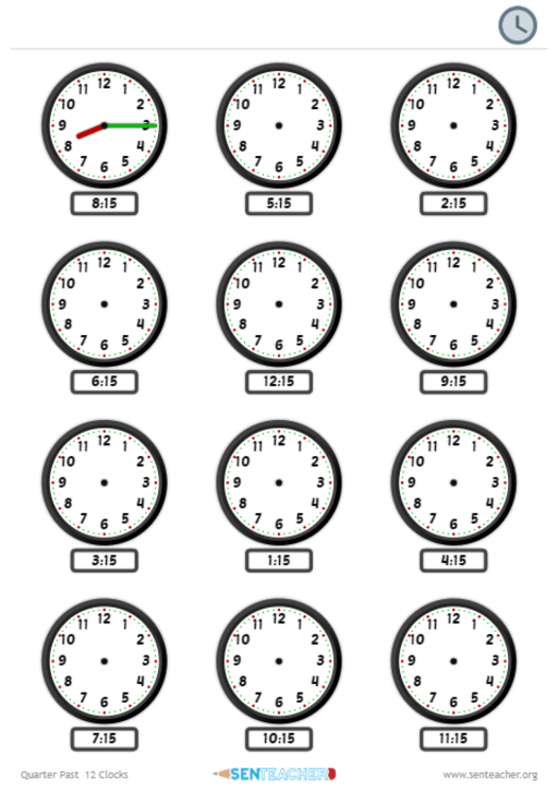 SEN Teacher ⋆ Clocks - Draw Time ⋆ Printable Worksheet