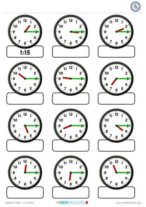 SEN Teacher ⋆ Clocks - Telling Time ⋆ Printable Worksheet