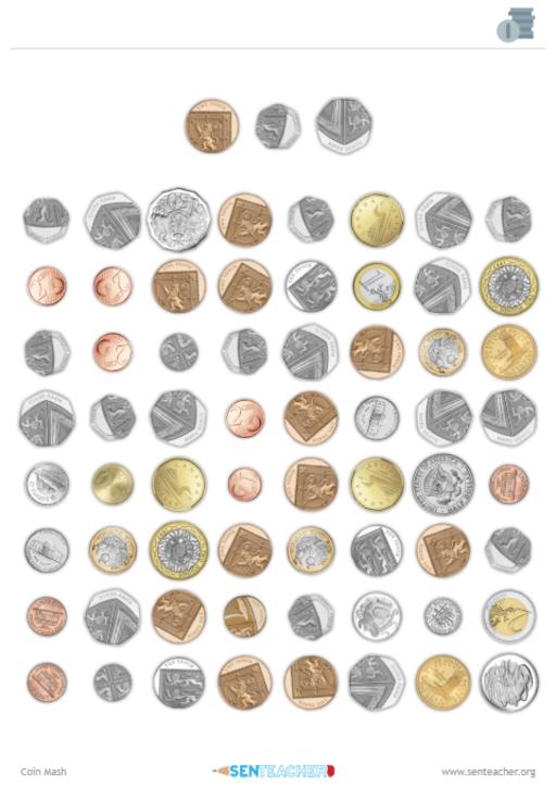 photo relating to Mash Printable named SEN Trainer ⋆ Coin Mash ⋆ Printable Worksheet