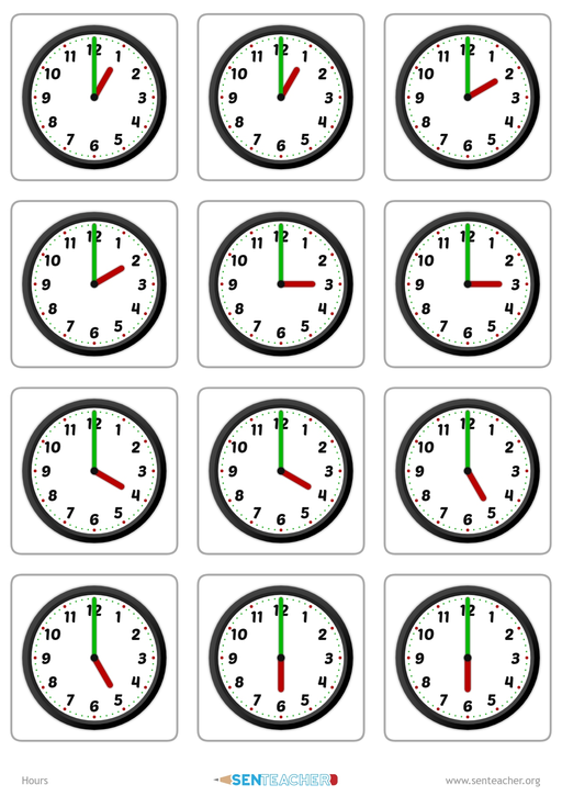 SEN Teacher ⋆ Clocks - Card Pairs ⋆ Printable Worksheet
