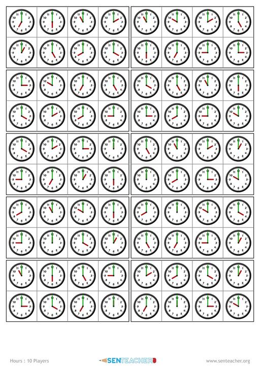 photo relating to Telling Time Printable Game referred to as SEN Instructor ⋆ Clocks - Bingo Manufacturer ⋆ Printable Recreation