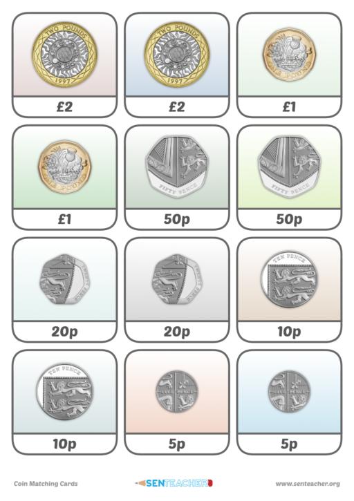 sen teacher coin card pairs printable worksheet. Black Bedroom Furniture Sets. Home Design Ideas
