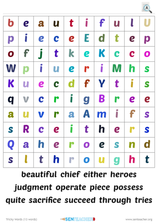 SEN Teacher ⋆ Wordsearch Maker ⋆ Printable Puzzle Maker