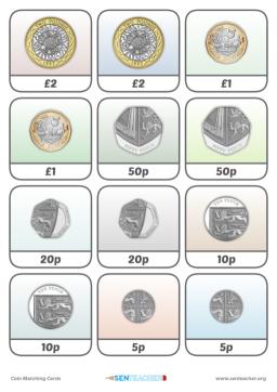 Sen teacher coin totals printable worksheet coin card pairs ibookread PDF